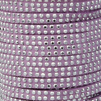 Cordon imitation daim 5mm strass Lavande (1m)