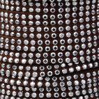 Cordon imitation daim 5mm strass Marron (1m)