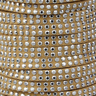 Cordon imitation daim 5mm strass Beige (1m)