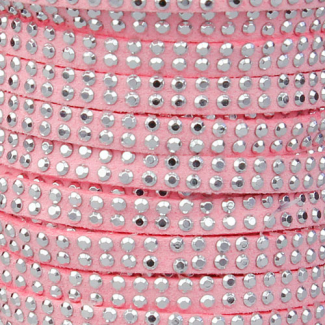 Cordon imitation daim 5mm strass Rose (1m)