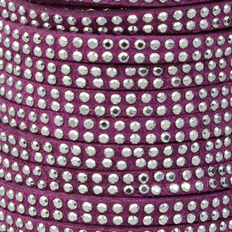Cordon imitation daim 5mm strass Bordeau (1m)