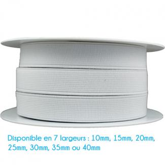 Elastique Côtelé 25mm Blanc (bobine 25m)