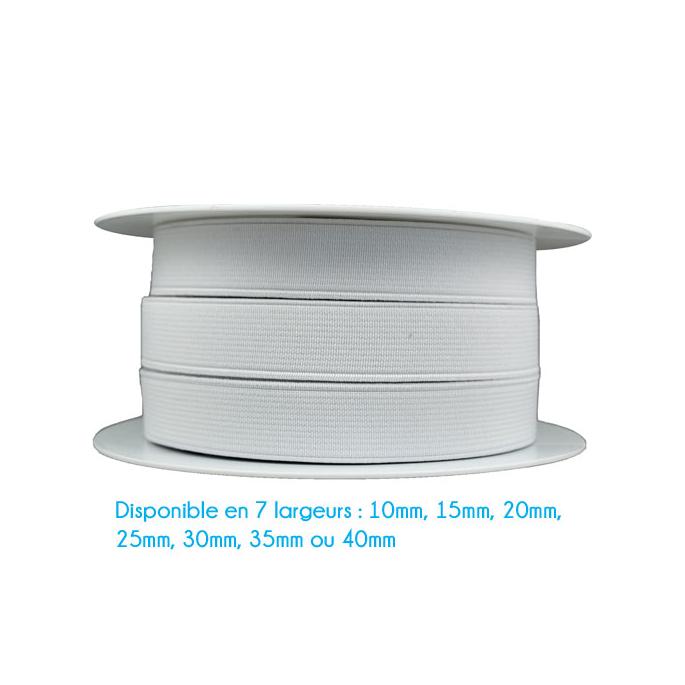 Elastique Côtelé 30mm Blanc (bobine 25m)