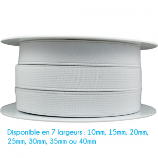 Elastique Côtelé 40mm Blanc (bobine 25m)