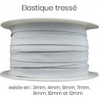 Elastique Tressé 10mm 14 gommes Blanc (bobine 50m)