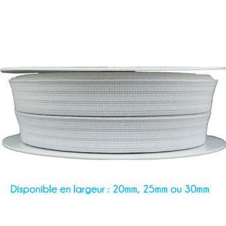 Elastique Gauffré 25mm Blanc (bobine 25m)
