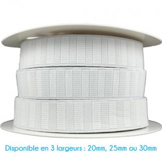 Elastique Gros Grain 20mm Blanc (bobine 25m)