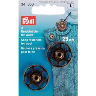 Boutons pression pour tricot laine 25mm ronds laiton noir (x2)