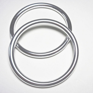 Sling Rings Shinny Silver Size M (1 pair)
