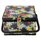 Sewing box Fabric covered Flowers on black
