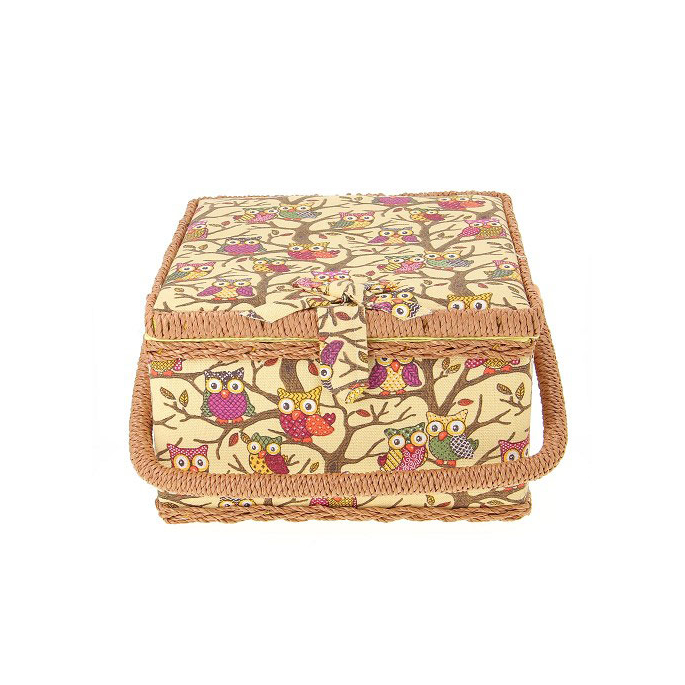 Sewing box Fabric covered Howls on Yellow