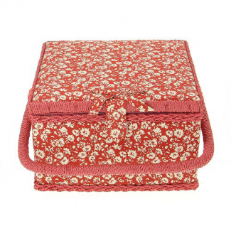 Sewing box Fabric covered Little flowers on red