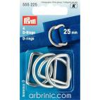 Anneaux métal en D PRYM 25mm Argent (x4)