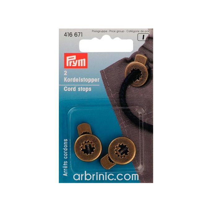 Cord stoppers PRYM metal 1 hole Bronze (x2)