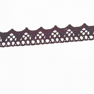 Lace ribbon 100% cotton 15mm Black (by meter)