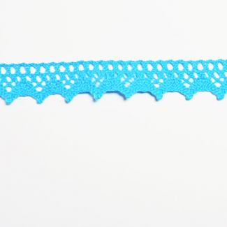 Dentelle 100% coton 15mm Turquoise (au mètre)