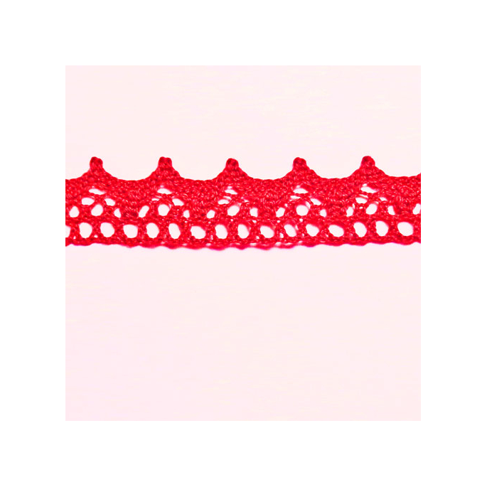 Lace ribbon 100% cotton 15mm Red (by meter)