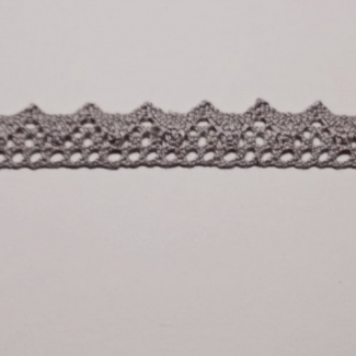Lace ribbon 100% cotton 8mm Grey (by meter)