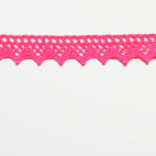 Lace ribbon 100% cotton 8mm Flashy Pink (by meter)