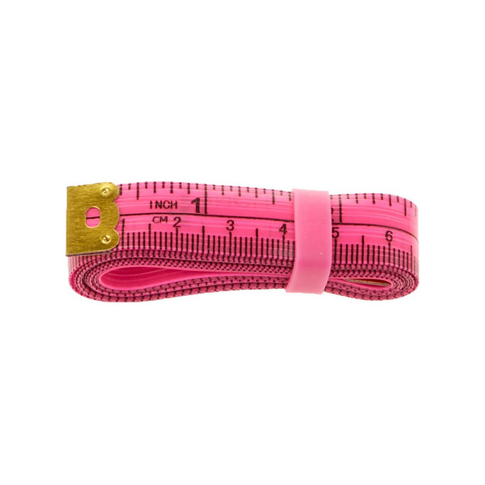 Fiberglass Tape Measure with silicon band 150cm PINK