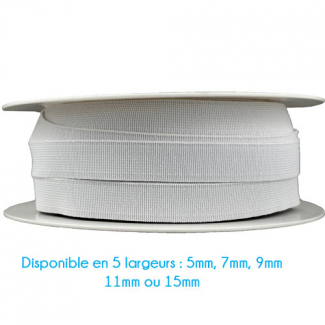 Elastique Bracelet 11mm Blanc (bobine 25m)