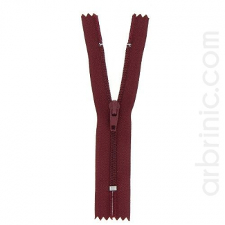 Nylon finished zipper 10cm Burgundy