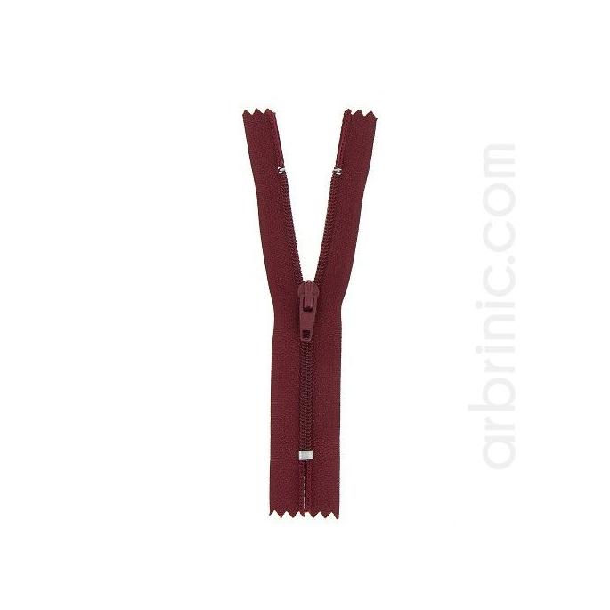 Fermeture fine nylon NS 10cm Bordeau