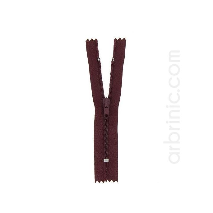 Fermeture fine nylon NS 10cm Aubergine