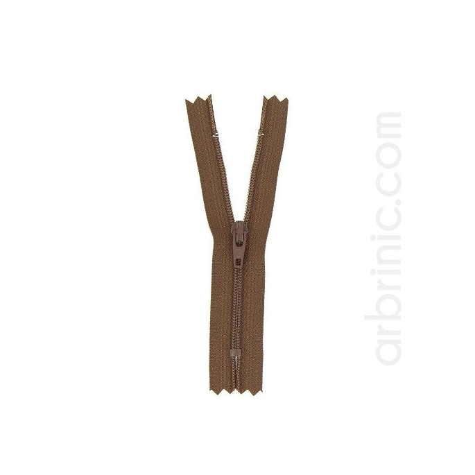 Nylon finished zipper 10cm Brown