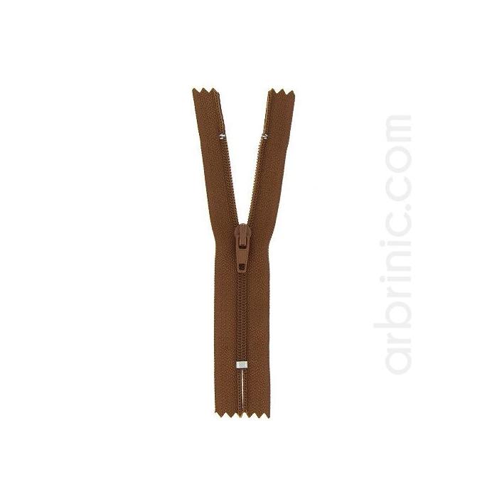 Nylon finished zipper 10cm Acajou