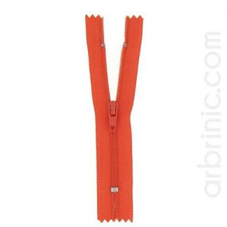 Fermeture fine nylon non séparable Rouge Orangé