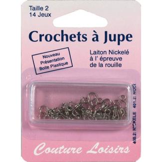 Crochets à jupe Taille 2 Couleur Nickel (14 jeux)