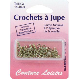 Crochets à jupe Taille 3 Couleur Nickel (14 jeux)