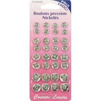 Boutons pression à coudre 9+11+13+15mm ronds laiton argent (x32)