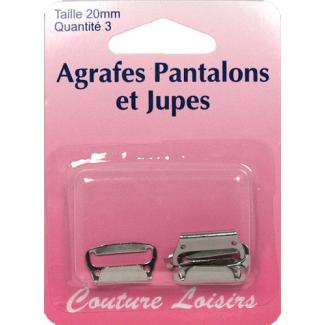 Agrafes Pantalons et Jupes 20mm Couleur Nickel (3 jeux)