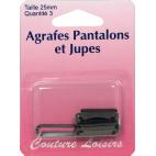 Agrafes Pantalons et Jupes 25mm Couleur Noir (3 jeux)