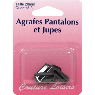 Agrafes Pantalons et Jupes 20mm Couleur Noir (3 jeux)