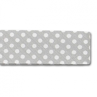 Single Fold Bias Dots White on Grey 20mm (by meter)
