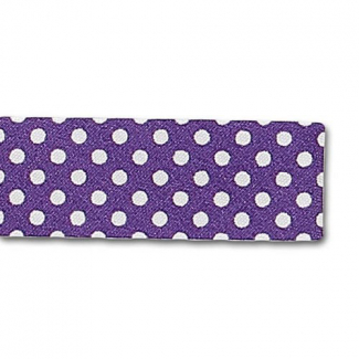 Single Fold Bias Dots White on Purple 20mm (by meter)