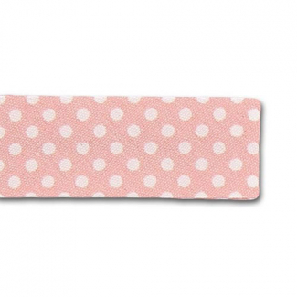 Single Fold Bias Dots White on Pink 20mm (by meter)