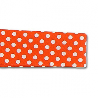 Single Fold Bias Dots White on Orange 20mm (by meter)