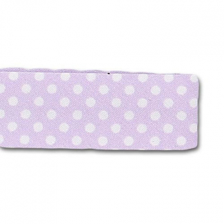 Single Fold Bias Dots White on Lilac 20mm (by meter)