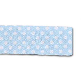 Single Fold Bias Dots White on Blue 20mm (by meter)