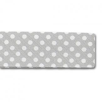 Single Fold Bias Dots White on Grey 20mm (25m roll)