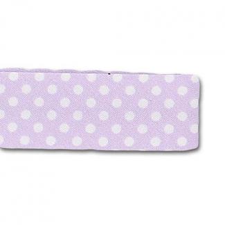 Single Fold Bias Dots White on Lilac 20mm (25m roll)