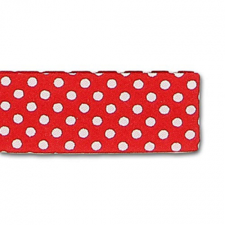 Single Fold Bias Dots White on Red 20mm (25m roll)
