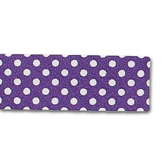 Biais fantaisie à Pois Blanc sur Violet 20mm (bobine 25m)