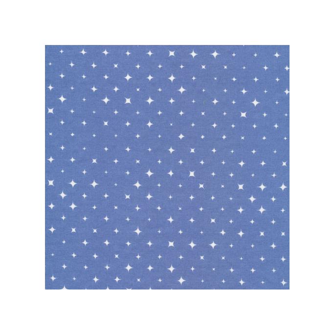 Coton Bio imprimé Etoiles Bleu Alpin Cloud9 (par 10cm)