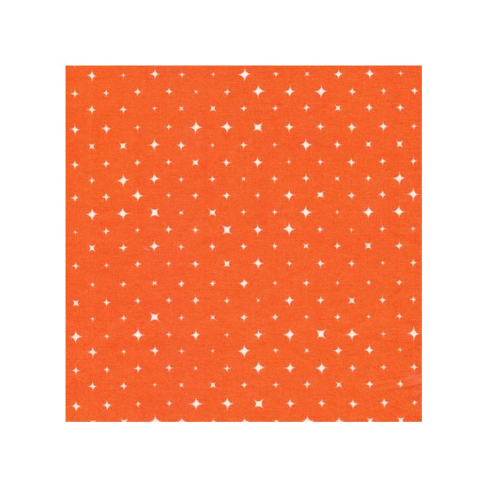 Coton Bio imprimé Etoiles Orange Cloud9 (par 10cm)
