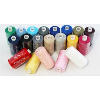 Fil à coudre polyester 20 bobines de 500m couleurs assorties